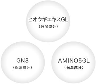 ヒオウギエキスGL(保湿成分)、GN3(保湿成分)、AMINO5GL(保湿成分)